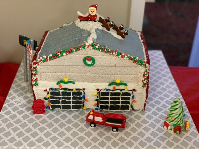 Fire Department themed gingerbread house