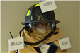 firefighter gear labeled with price tags