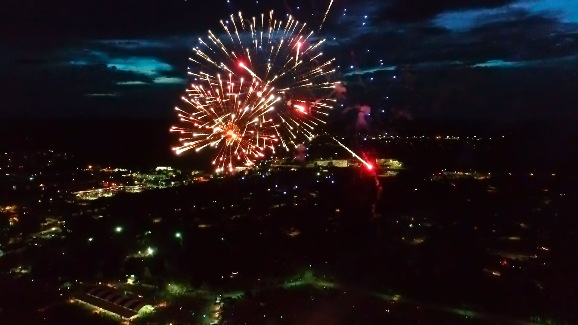 Ariel view of 2019 Richmond Hill Independence Day Fireworks